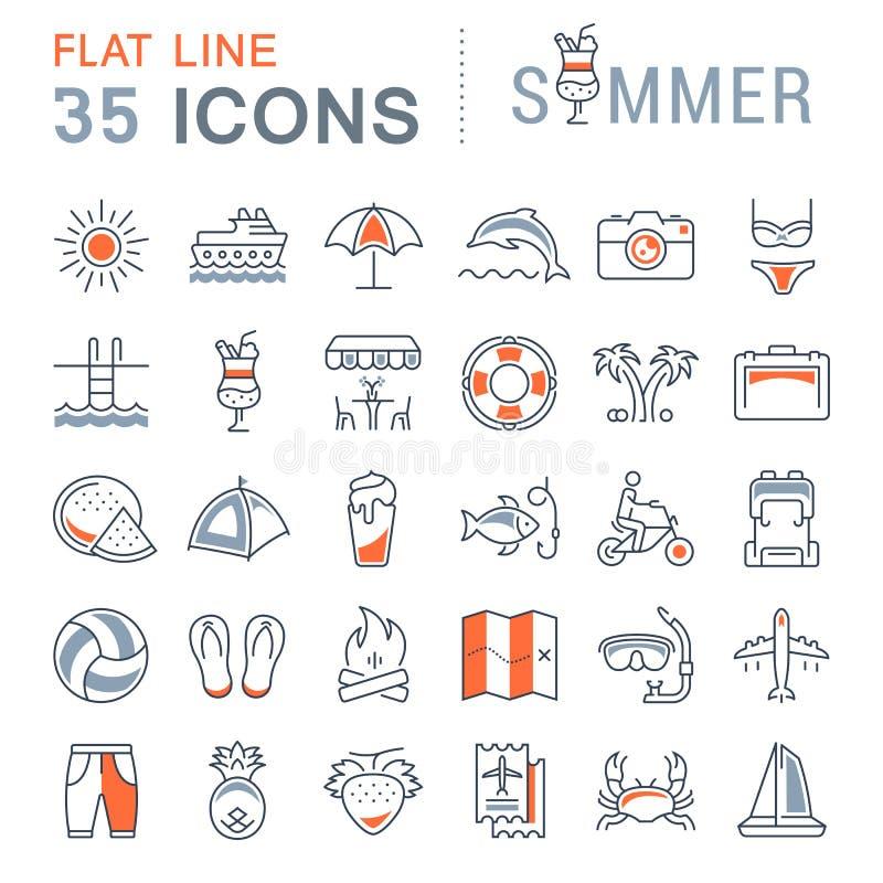 Fije la línea plana verano del vector de los iconos libre illustration