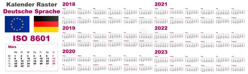 Fije la lengua holandesa alemana de Deutsche del calendario de pared de la rejilla para 2018, 2019, 2020, 2021, 2022, 2023, ISO 8 ilustración del vector