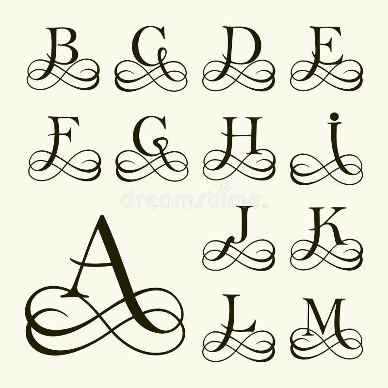 Fije la mayúscula para los monogramas y los logotipos stock de ilustración