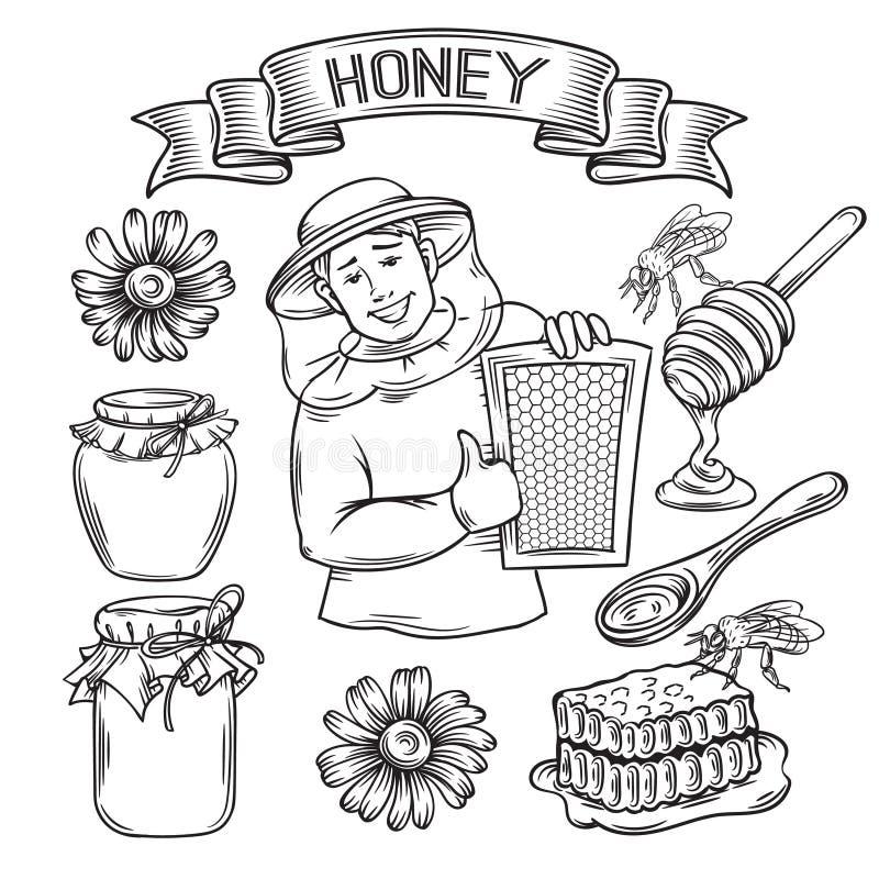 Fije la miel dibujada mano del icono stock de ilustración