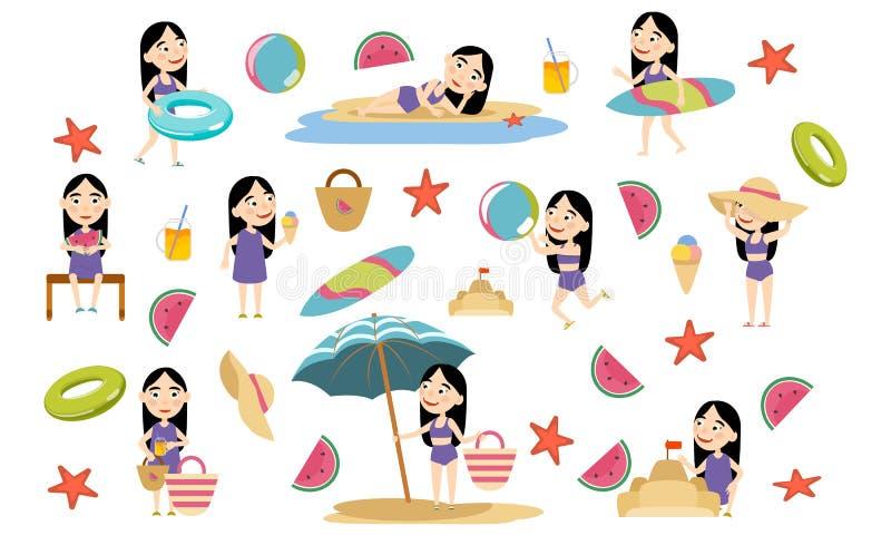 Fije a la muchacha con el pelo negro y los trajes de baño largos en la playa libre illustration