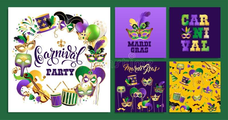 Fije la plantilla con las máscaras de oro del carnaval en fondo negro Frontera festiva de la celebración que brilla Ilustración d ilustración del vector