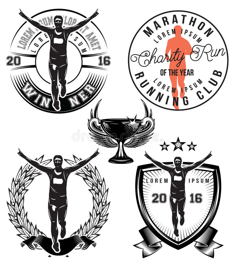Fije la plantilla del vector con el atleta elegante de los deportes para el maratón libre illustration