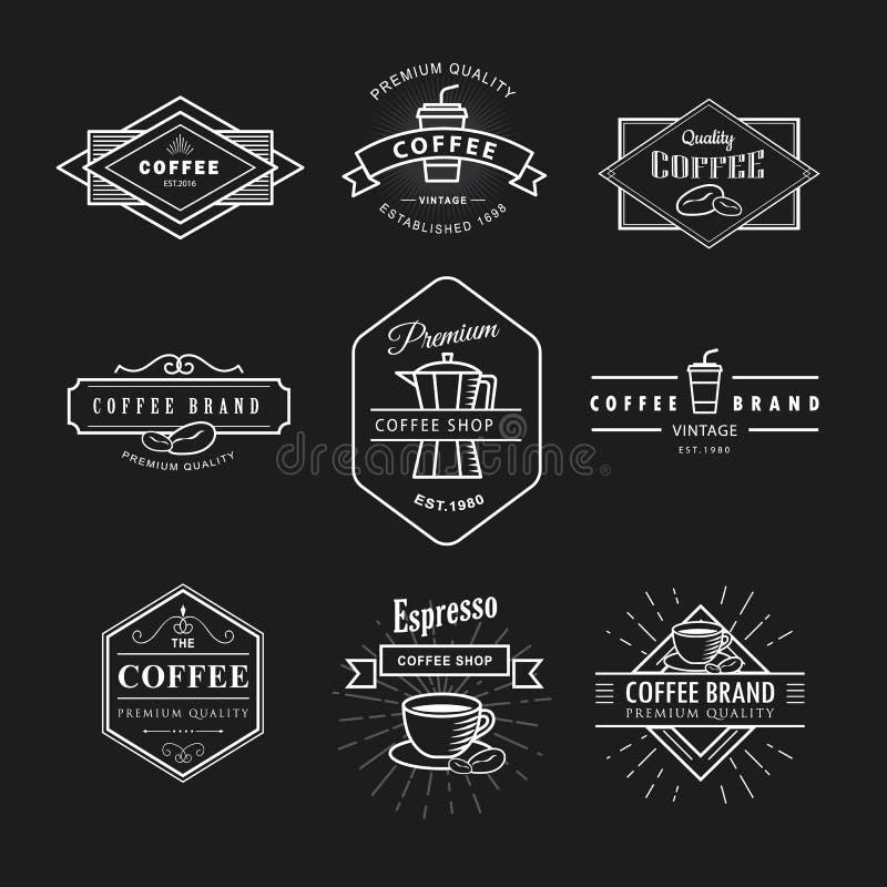 Fije la plantilla del vector de la pizarra de la etiqueta del vintage del logotipo del café stock de ilustración