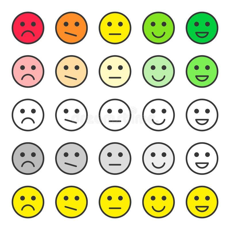 Fije la reacción de la escala de las caras Estudio de calidad del servicio de atención al cliente Emoticons de los grados Vector  ilustración del vector
