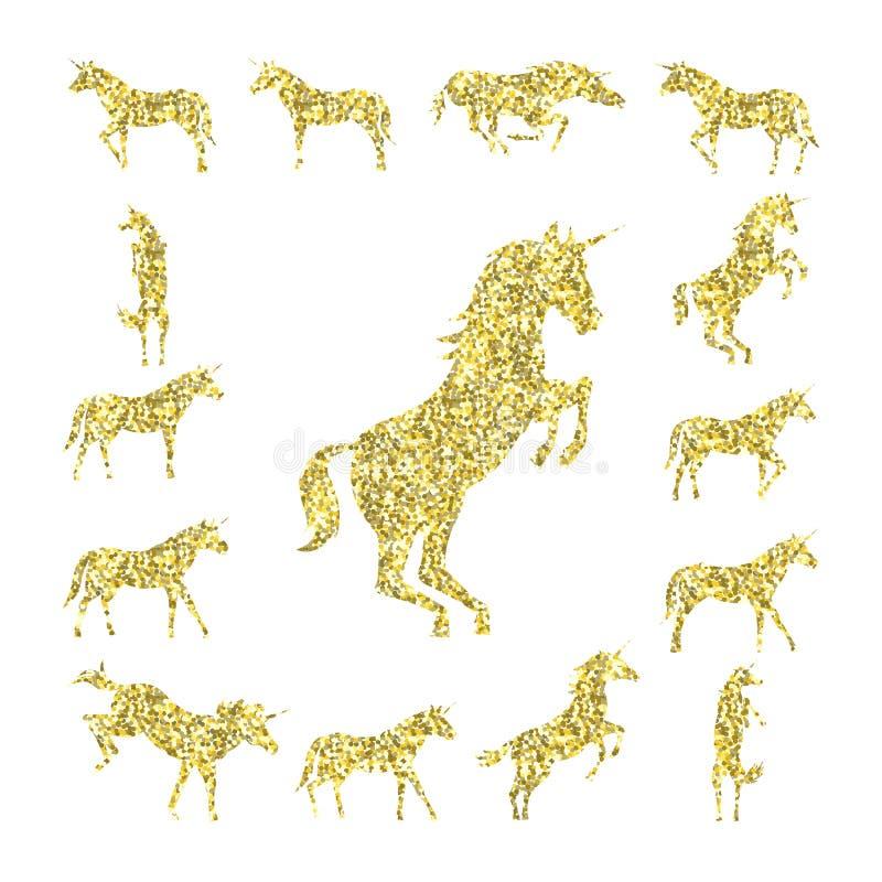 Fije la silueta del unicornio del oro ilustración del vector