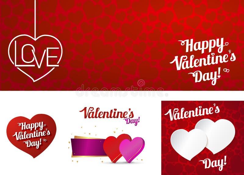 Fije la tarjeta día de San Valentín feliz o el escardar Ejemplo FO del vector stock de ilustración