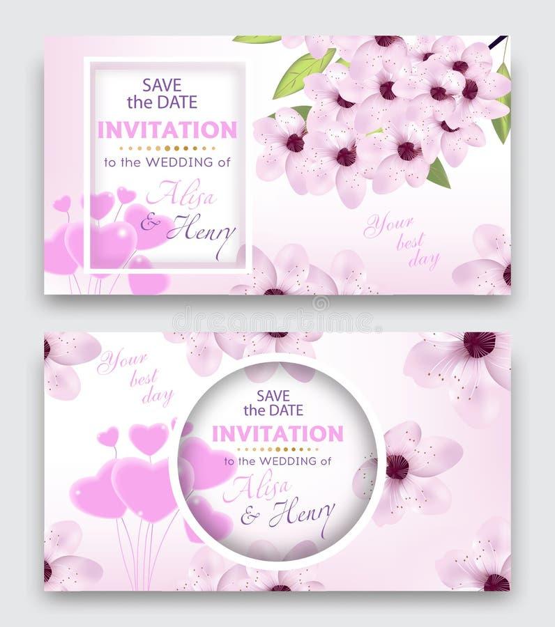 Fije la tarjeta de la plantilla o de felicitación de la invitación de la boda Fondo elegante con las flores de la cereza o del fl stock de ilustración