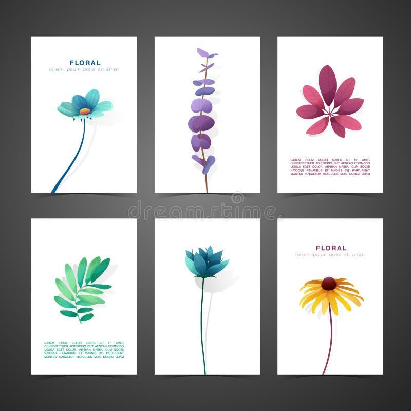 Fije la tarjeta del diseño de la plantilla con la decoración de la flor Sistema de la invitación con diseño mínimo Decoración con libre illustration