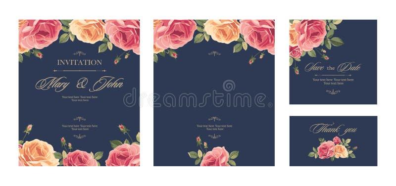 Fije la tarjeta del vintage de la invitación de la boda con las rosas y los elementos decorativos de la antigüedad stock de ilustración