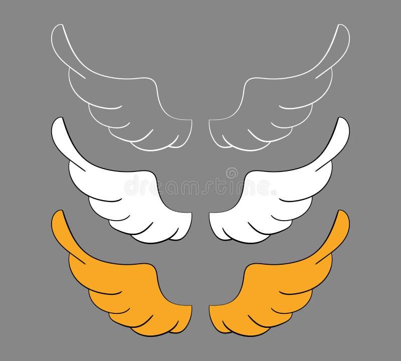 Fije las alas de la historieta, bosquejo Elementos del diseño del vector aislados en fondo oscuro stock de ilustración