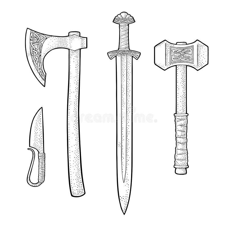 Fije las armas afiladas vikingo Cuchillo, hacha, espada, martillo Grabado del vintage ilustración del vector