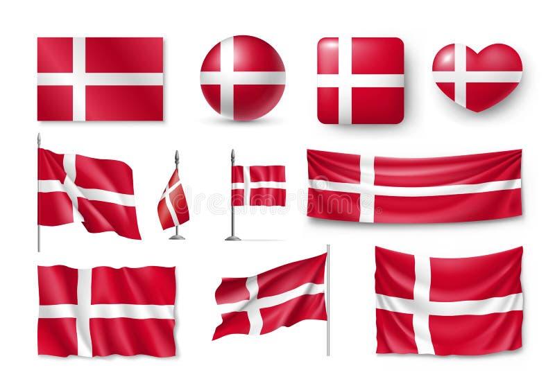 Fije las banderas de Dinamarca, banderas, banderas, símbolos, icono plano libre illustration