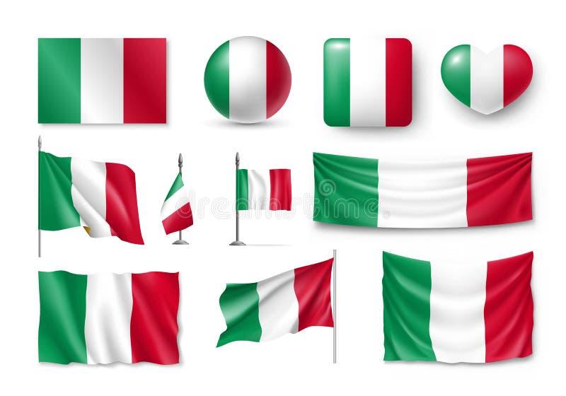 Fije las banderas de Italia, banderas, banderas, símbolos, icono plano ilustración del vector