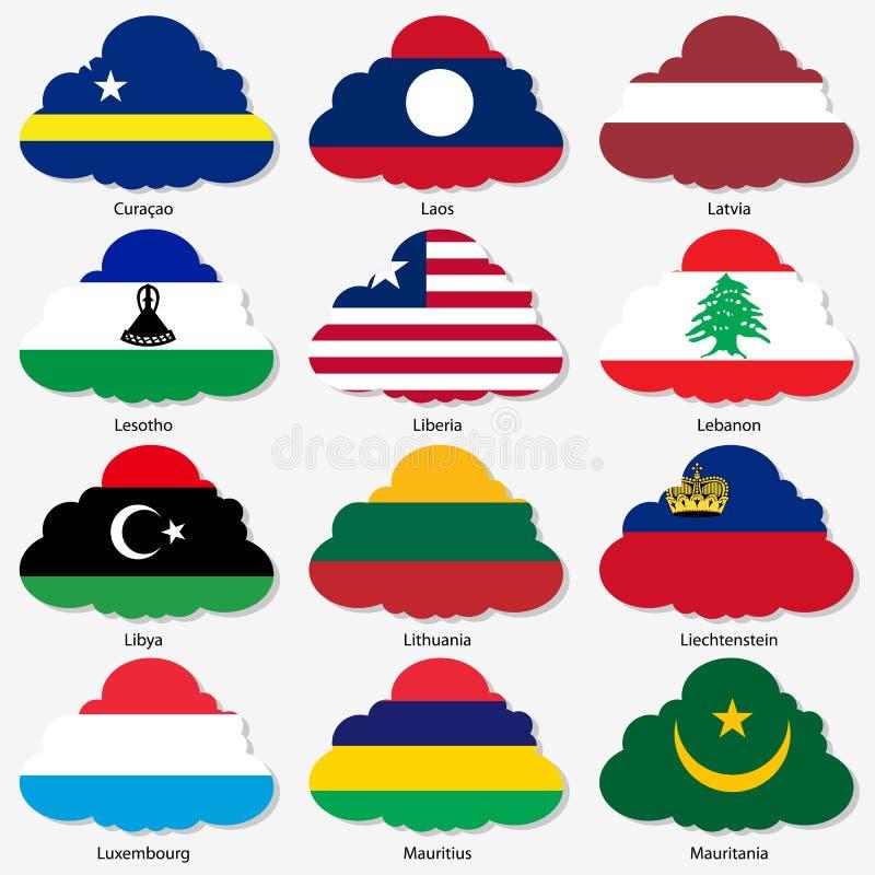 Fije las banderas de los estados soberanos del mundo en forma libre illustration