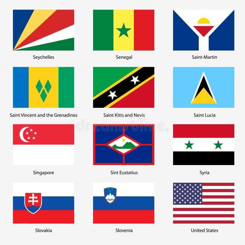 Fije las banderas de los estados soberanos del mundo. Vector libre illustration