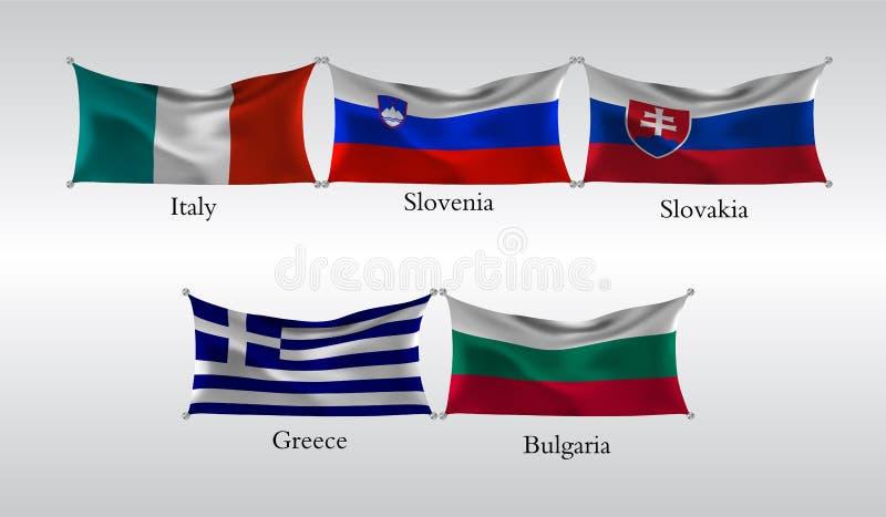 Fije las banderas de países europeos Bandera que agita de Italia, Eslovenia, Eslovaquia, Grecia, Bulgaria Ilustración del vector ilustración del vector
