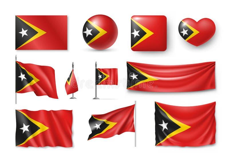 Fije las banderas de Timor Oriental, banderas, banderas, símbolos, icono plano stock de ilustración