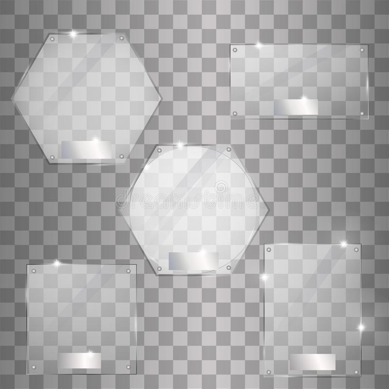 Fije las banderas modernas de las placas de cristal del vector en fondo transparente stock de ilustración