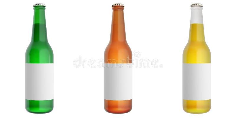 Fije las botellas de cerveza con la etiqueta en blanco stock de ilustración