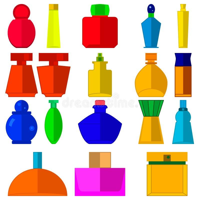 Fije las botellas de perfume coloreadas para la mujer stock de ilustración
