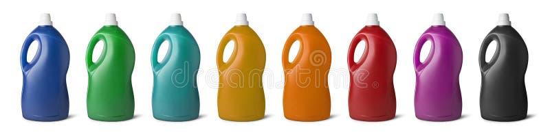 Fije las botellas del plástico una variedad de colores libre illustration