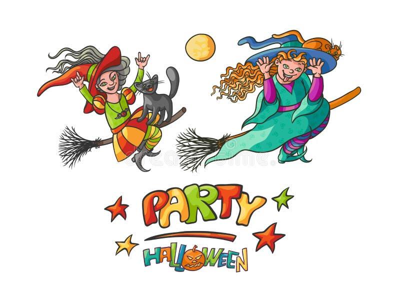 Fije a las brujas de las muchachas en la escoba con los gatos para el partido Halloween de los niños Mago y animal doméstico jove libre illustration