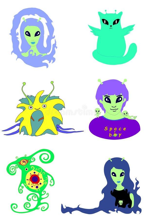Fije las caras extraterrestres del vector aisladas en el fondo blanco libre illustration