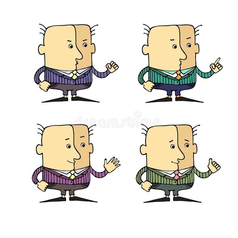 Fije las caricaturas de diversos gestos y emociones principales ilustración del vector