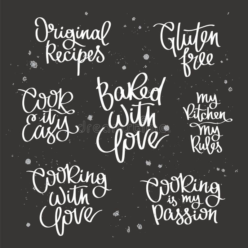 Fije las citas sobre cocinar stock de ilustración