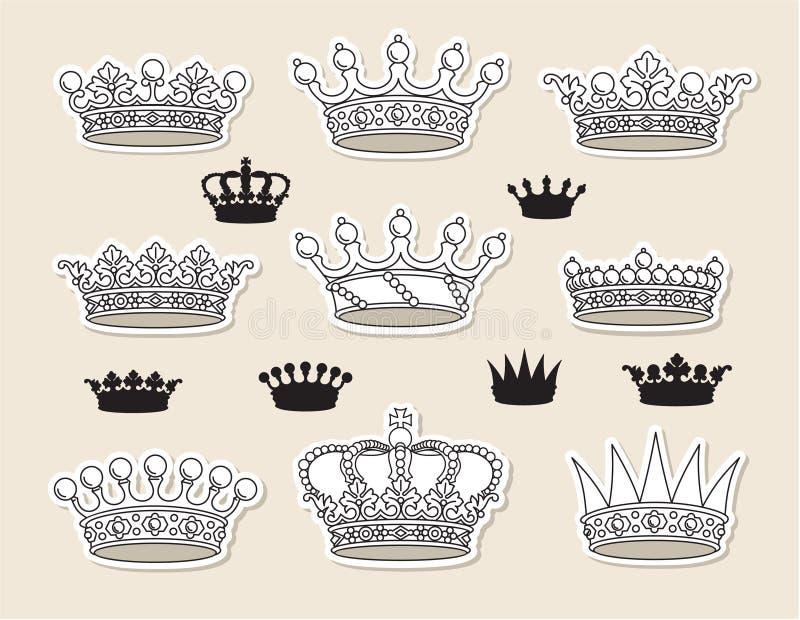 Fije las coronas stock de ilustración