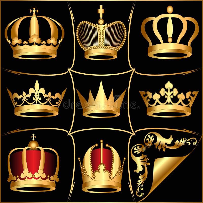 Fije las coronas del oro (en) en fondo negro ilustración del vector
