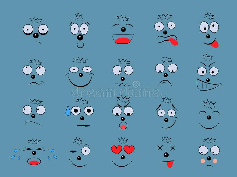 Fije las emociones Expresión facial stock de ilustración