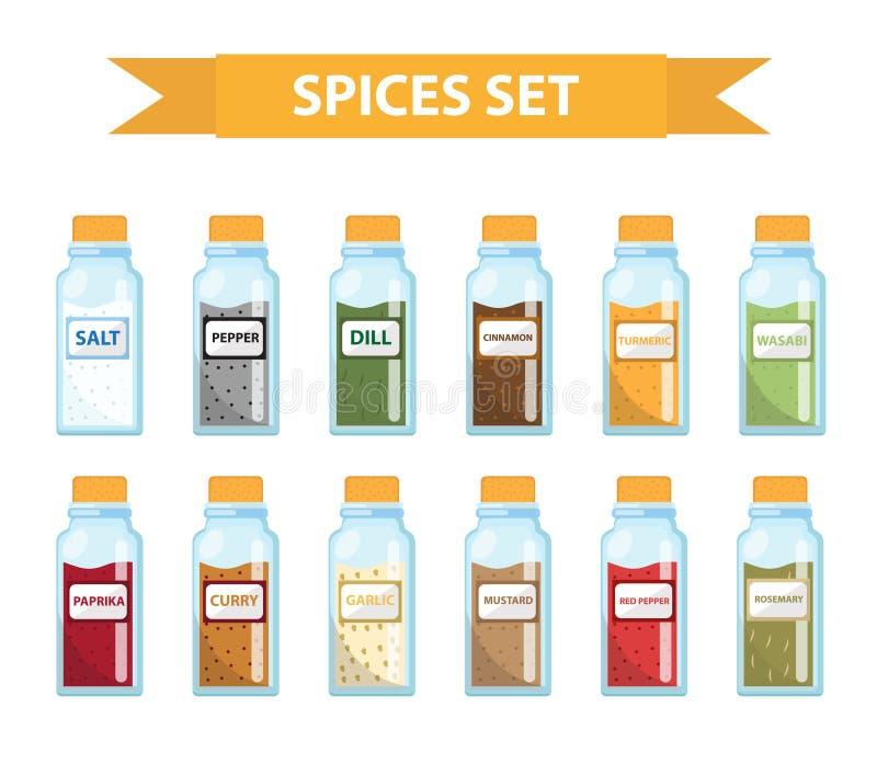 Fije las especias en los tarros, estilo plano Sistema de diversas especias, hierbas en un tarro de cristal stock de ilustración