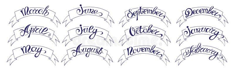 Fije las etiquetas con las letras a mano, meses de nombres del año, negro en blanco libre illustration