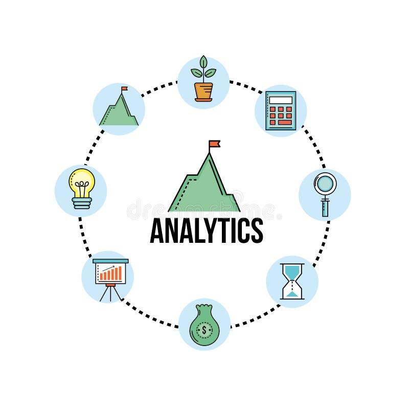 Fije las finanzas del analytics a la estrategia de la corporación stock de ilustración