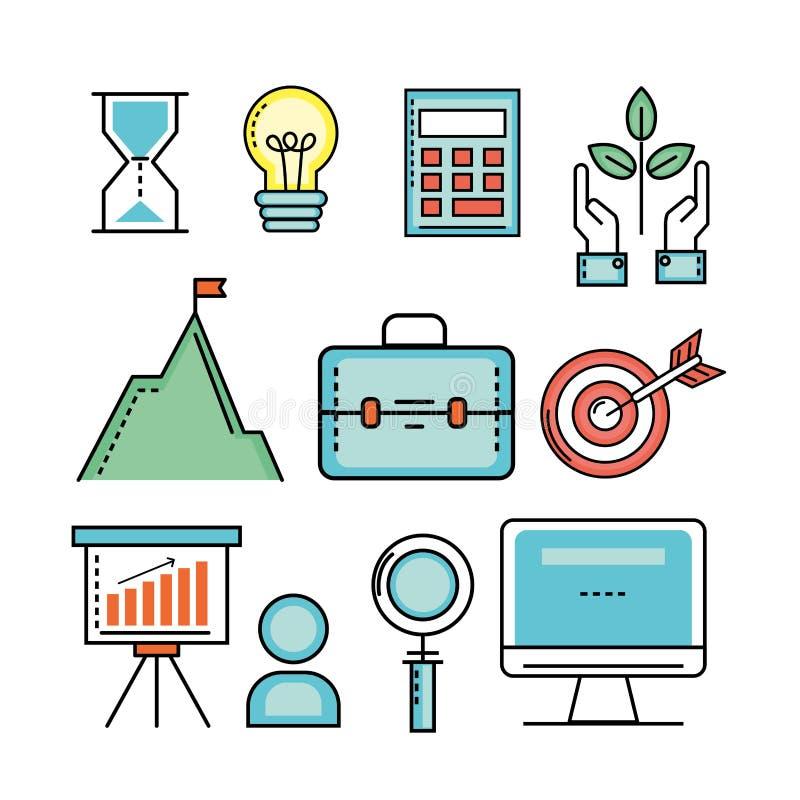 Fije las finanzas del analytics a la estrategia de la corporación ilustración del vector