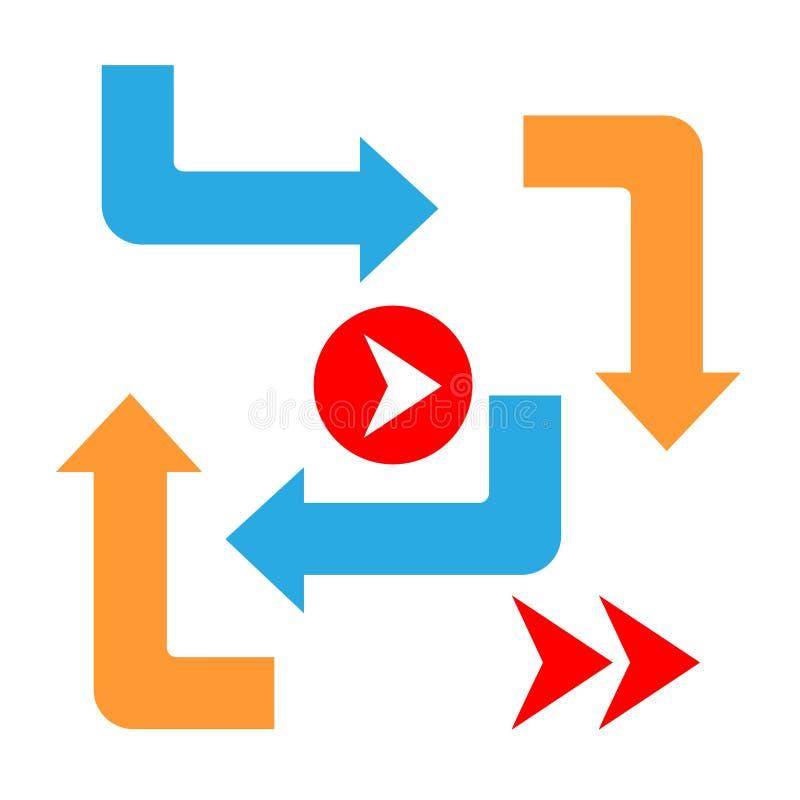 Fije las flechas del color y las direcciones señal adentro el estilo plano para el negocio Vector aislado ilustración del vector