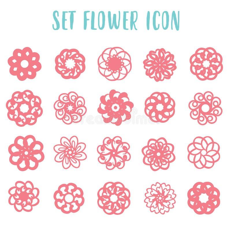 Fije las flores geométricas del icono libre illustration
