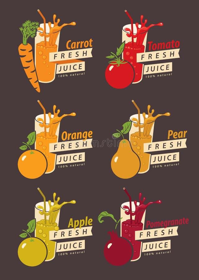 Fije las frutas y el vidrio con el jugo fresco libre illustration