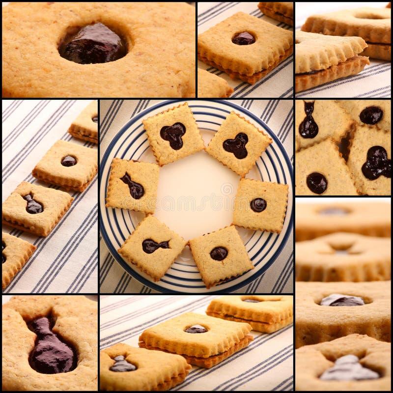 Fije las galletas de la avellana del collage con Berry Jam mezclado foto de archivo libre de regalías