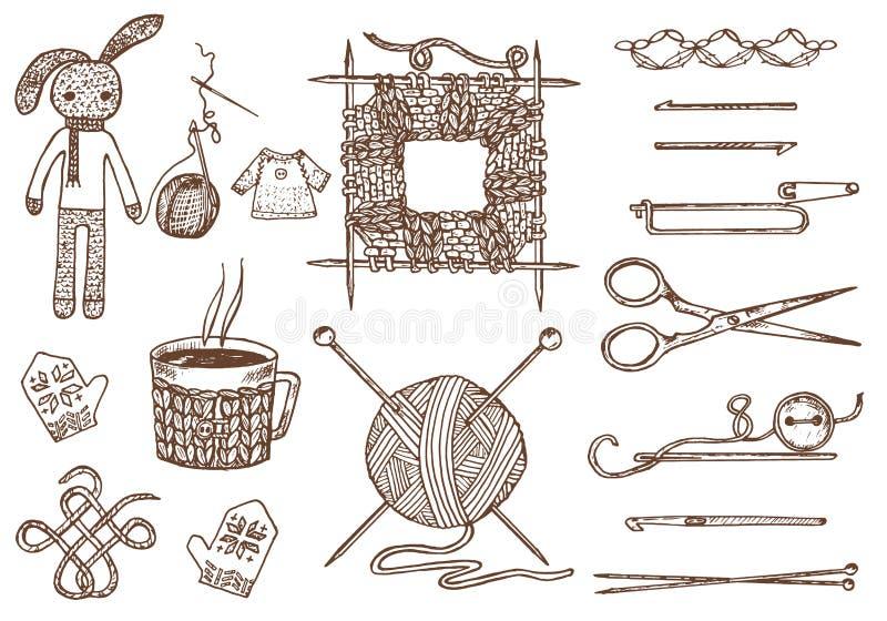 Fije las herramientas para hacer punto o ganchillo y los materiales o los elementos para la costura costura del club hecho a mano libre illustration