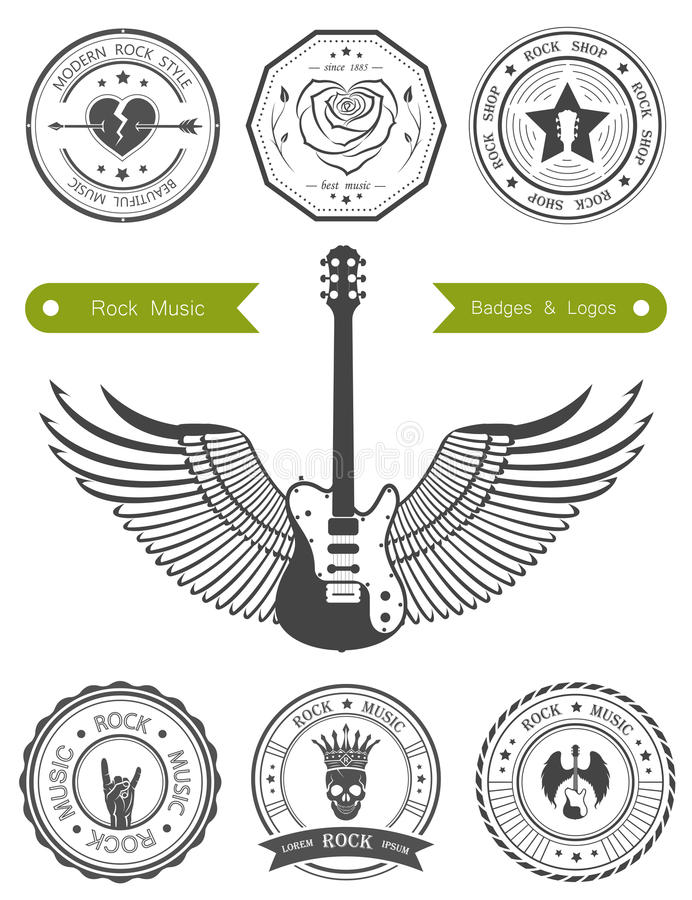 Fije las insignias de la música rock ilustración del vector