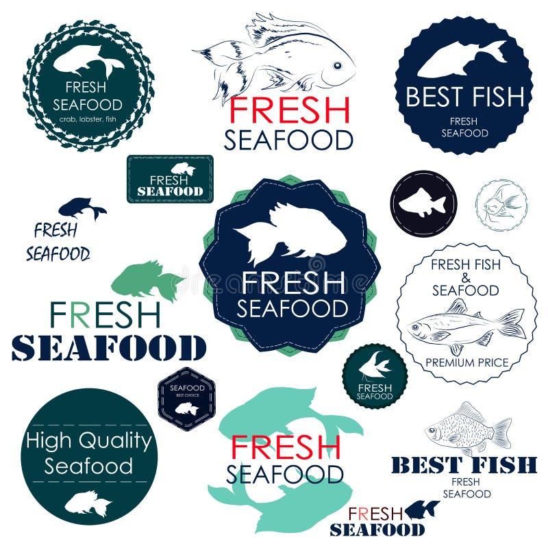 Fije las insignias y las etiquetas engomadas para la industria de los mariscos libre illustration