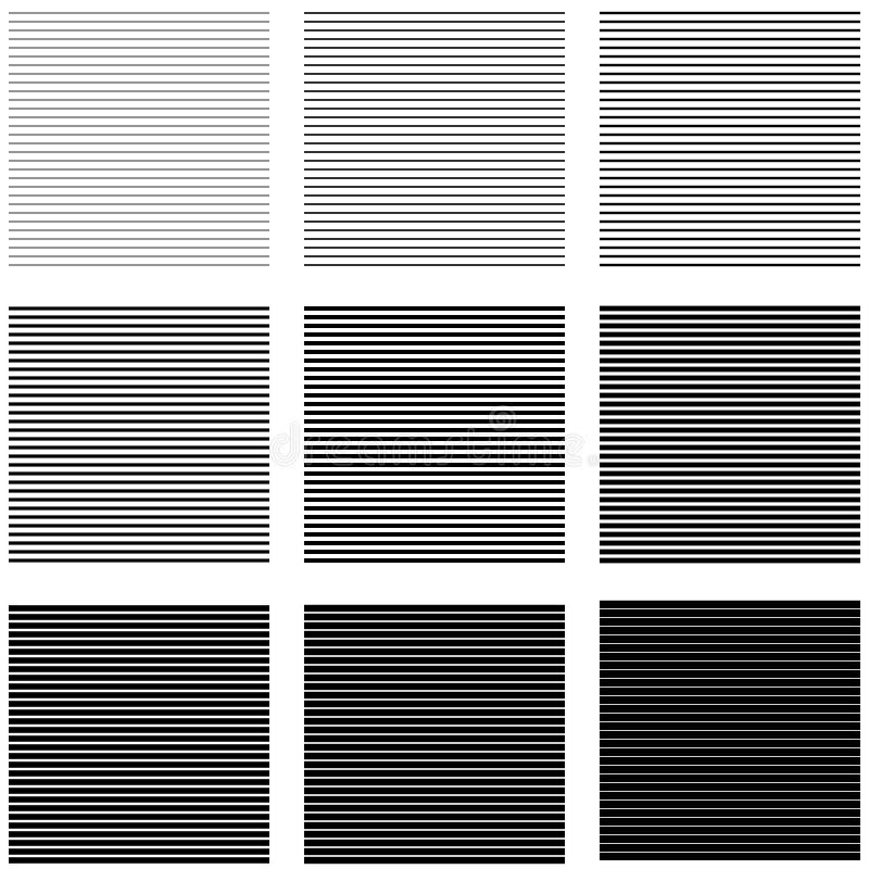 Fije las lineas horizontales y las rayas de los fondos con diversos grueso e intensidad ilustración del vector