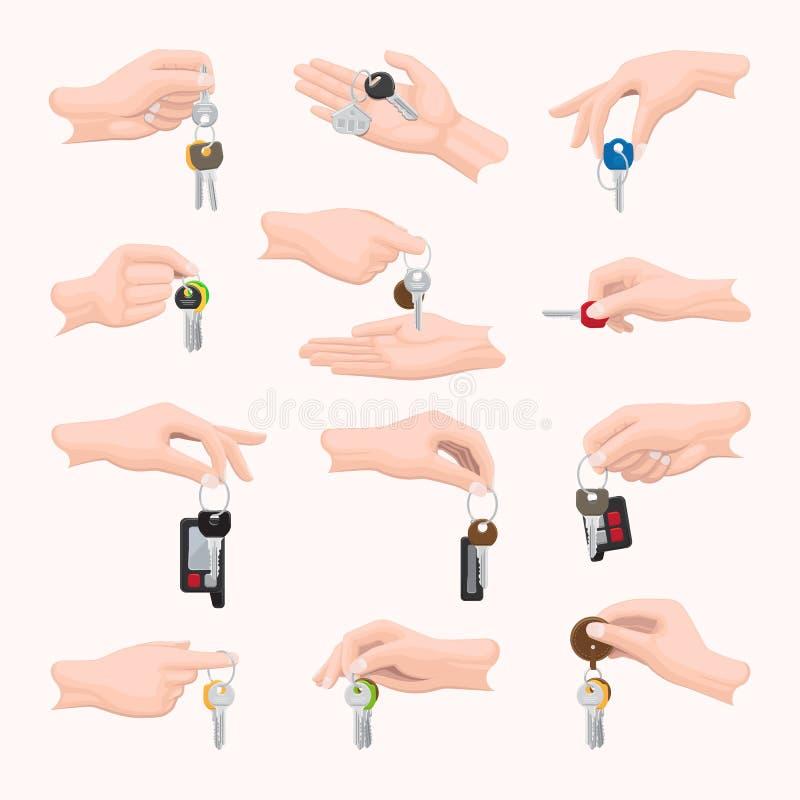 Fije las manos con llaves Diversa forma, tamaño, diseño stock de ilustración