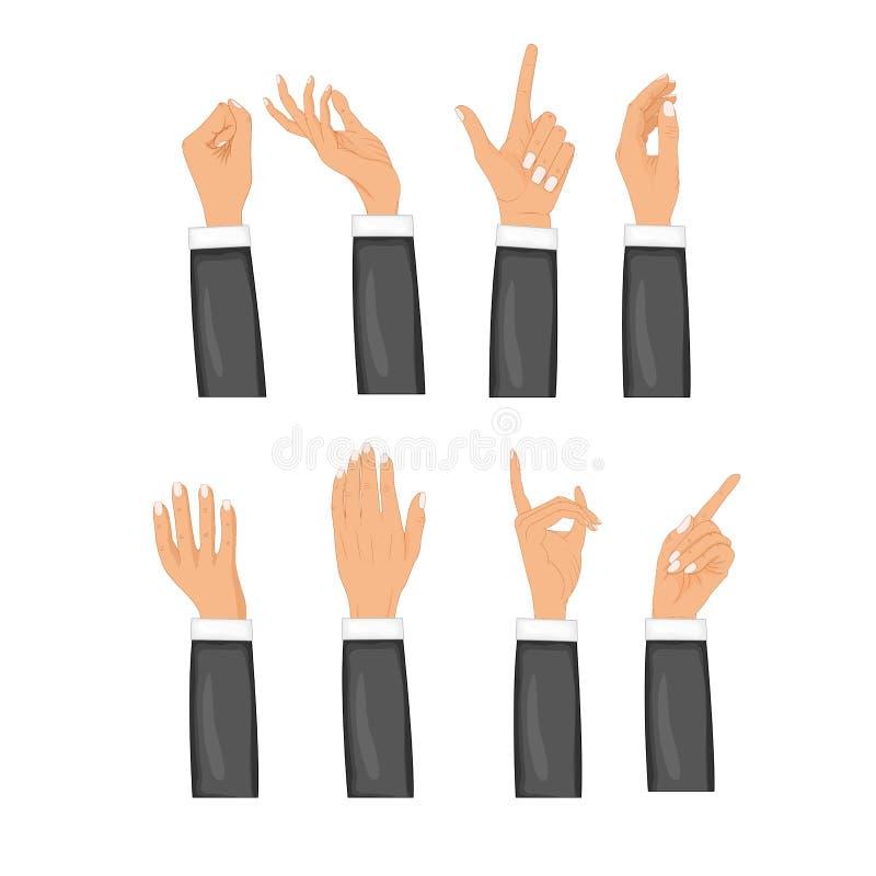Fije las manos en diversos gestos aisladas en el fondo blanco Sistema del gesto de mano con los clavos manicured y bueno coloread ilustración del vector