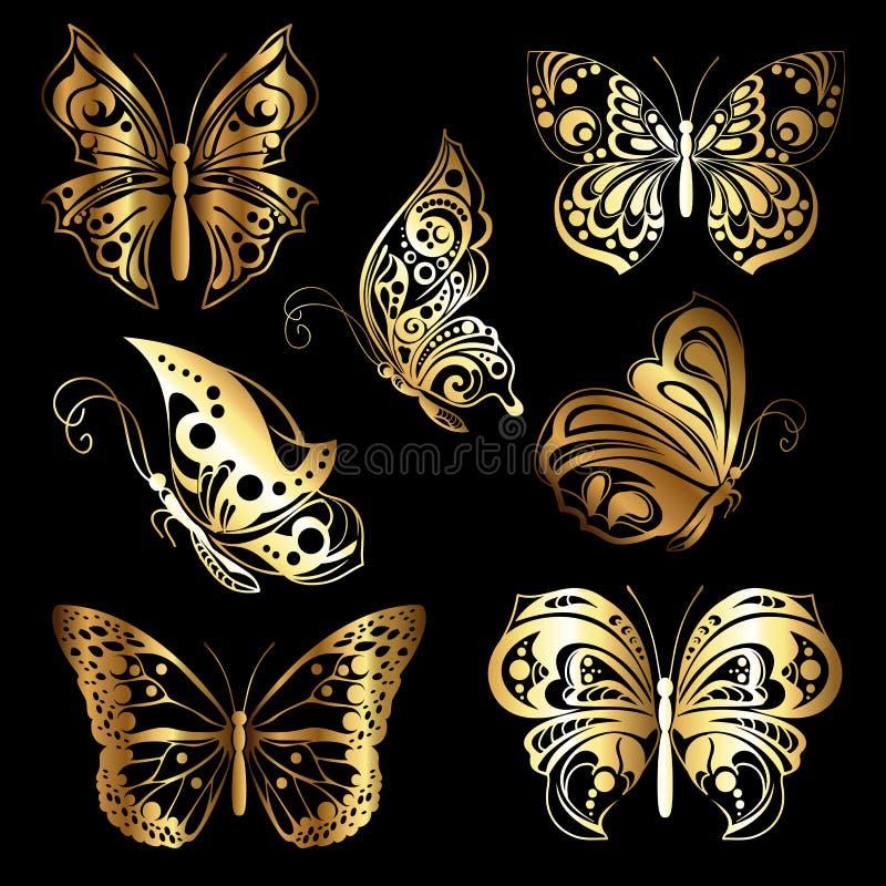 Fije las mariposas del oro stock de ilustración