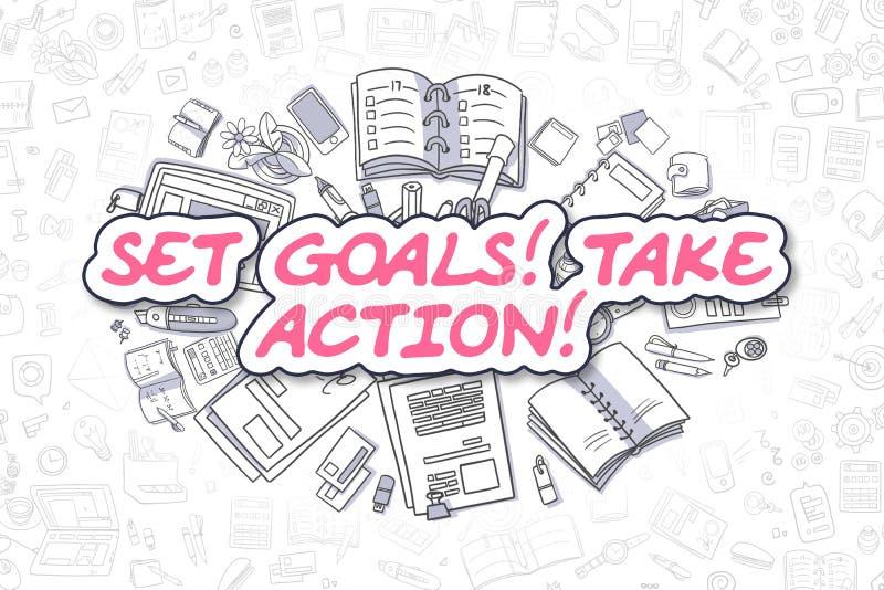 Fije las metas toman medidas - concepto del negocio ilustración del vector