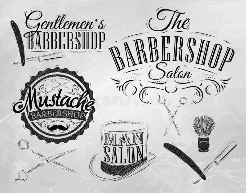 Fije las muestras de la barbería. Carbón. stock de ilustración
